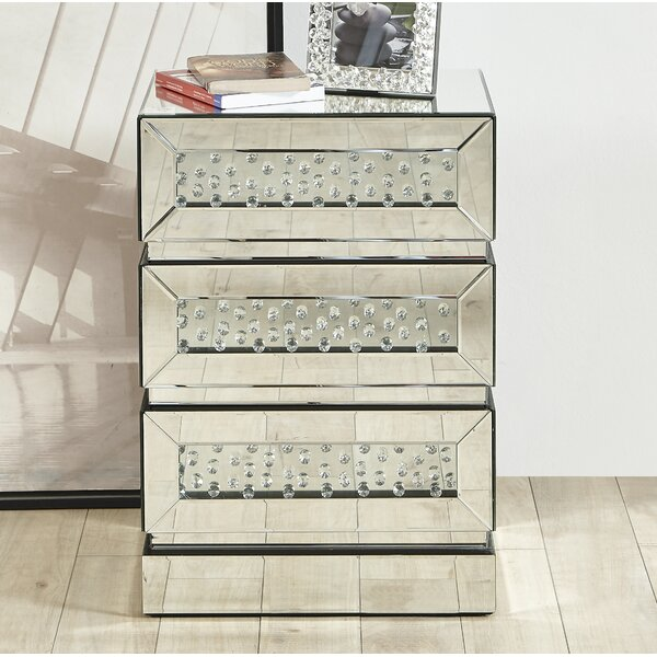 Laskowski Crystal 3 Drawer Nightstand by Rosdorf Park