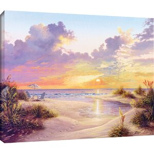 'Paradise Sunset' Rectangle Painting Print on Wrapped Canvas by Beachcrest Home