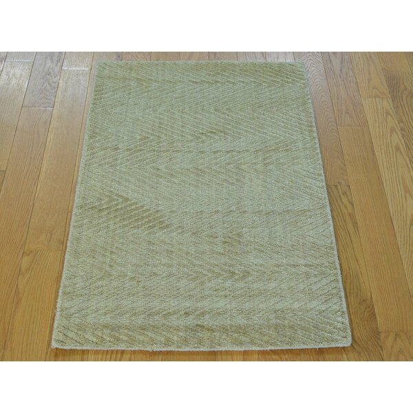 One-of-a-Kind Bean Art Handwoven Beige Silk Area Rug by Isabelline