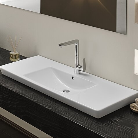 Porto Ceramic Rectangular Wall Mounted or Drop In Bathroom Sink with Overflow by CeraStyle by Nameeks