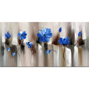 Blue Modern Flower Graphic Art on Wrapped Canvas b