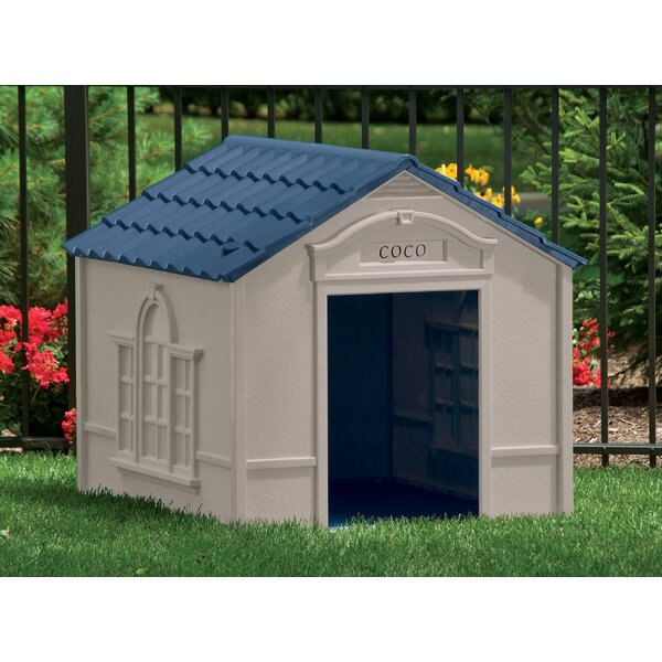 Deluxe Dog House in Taupe & Blue by Suncast