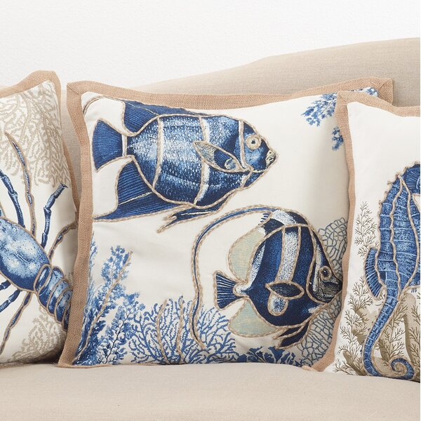 Aloisia Stitched Fish Down Filled Cotton Throw Pillow by Highland Dunes