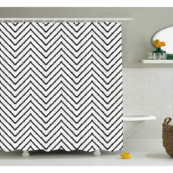 Karyn Modern Geometric Triangle Zig Zag Triggering Lines Minimalist Pattern Decor Shower Curtain by Ebern Designs