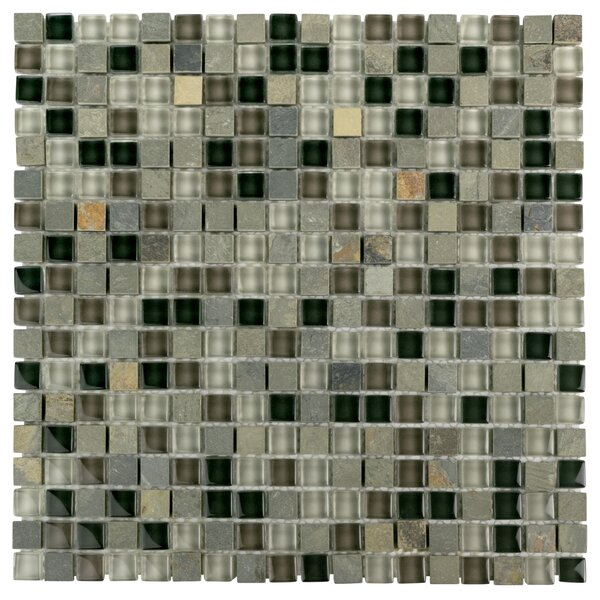 Sierra 0.58 x 0.58 Glass and Natural Stone Mosaic Tile in Stonehenge by EliteTile