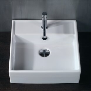 Deals Ceramica Ceramic Square Vessel Bathroom Sink with Overflow By WS Bath Collections
