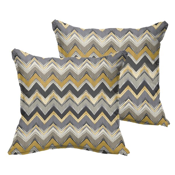 Murrah Chevron Flange Square Indoor/Outdoor  Polyester Throw Pillow (Set of 2) by Brayden Studio