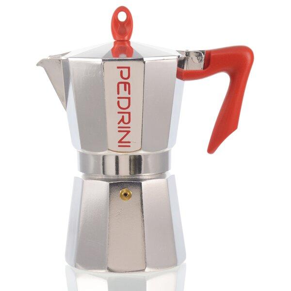 Pedrini Stovetop Espresso Pot Silver with Red Hand