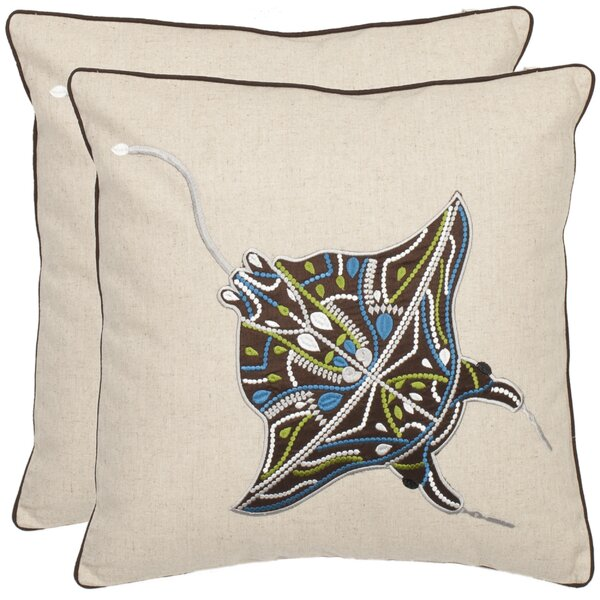 Heanor Stingray Throw Pillow (Set of 2) by Highland Dunes