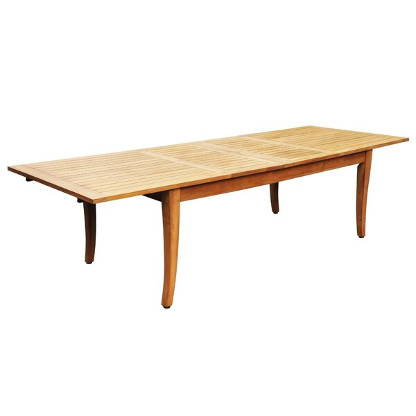 Kamille Extendable Teak Dining Table by Rosecliff Heights