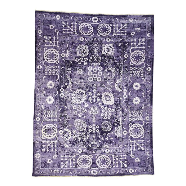 One-of-a-Kind Entwistle Tabriz Hand-Knotted Silk Purple Area Rug by World Menagerie