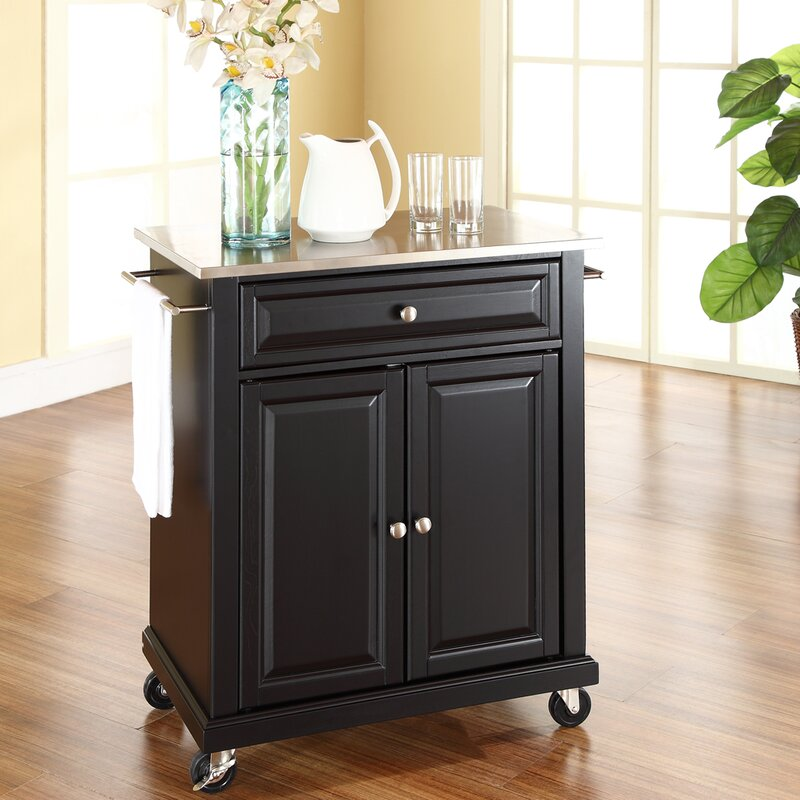 Charlton Home Thorpe Kitchen Cart with Stainless Steel Top & Reviews ...