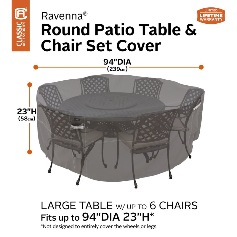 Universal Round Table And Chair Water Proof Patio Cover With Reinforced Fabric And Seams