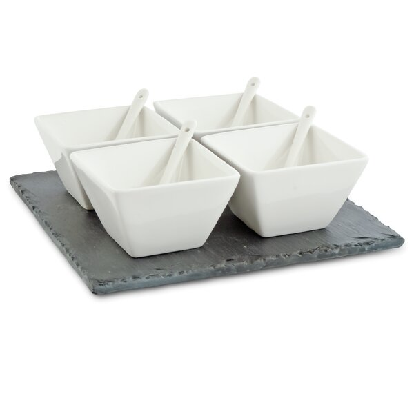White Basics Slate 9 Piece Dipping Condiment Server Set by Maxwell & Williams