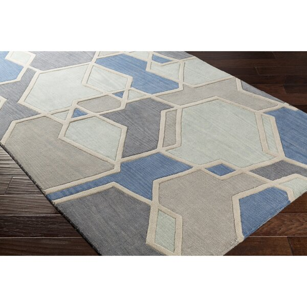 Vaughan Hand-Tufted Green/Gray Area Rug by Wrought Studio