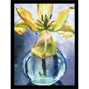 'Yellow Lily Flower in Glass Vase Poster' by David Lloyd Glover Framed Painting Print by Buy Art For Less