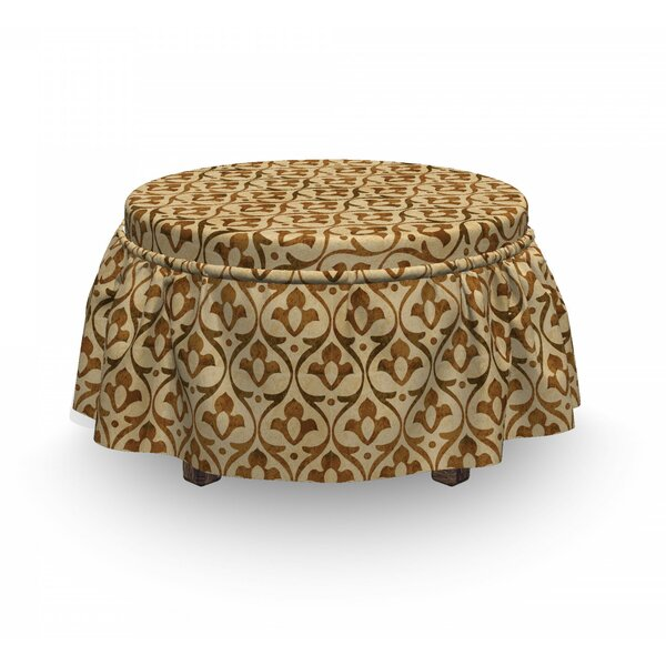 Worn Out Ornamental Wavy Ottoman Slipcover (Set Of 2) By East Urban Home