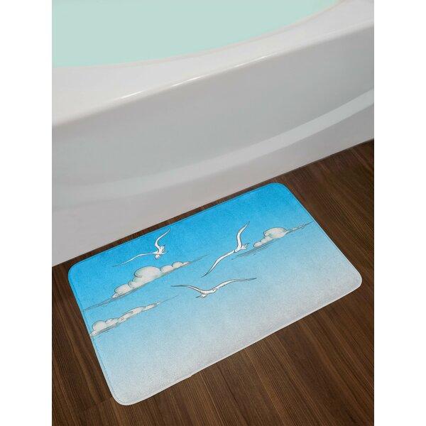 White Blue Seagulls Bath Rug by East Urban Home
