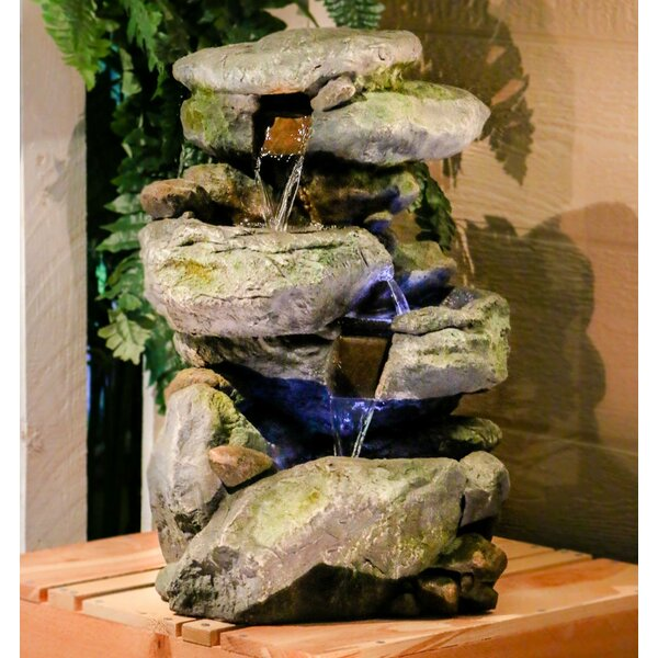 Fiberglass Rock Waterfall Fountain with LED Light by Alpine