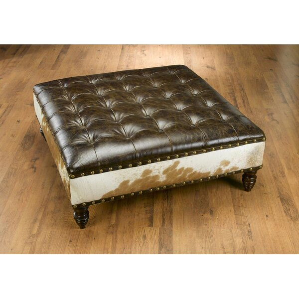 Brutus Leather Tufted Cocktail Ottoman By Loon Peak
