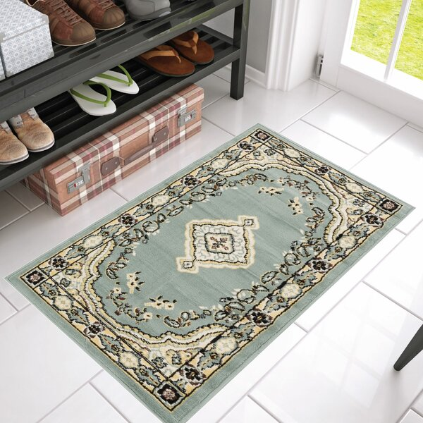 Aldenport Medallion Power Loom Blue Indoor Rug by Charlton Home