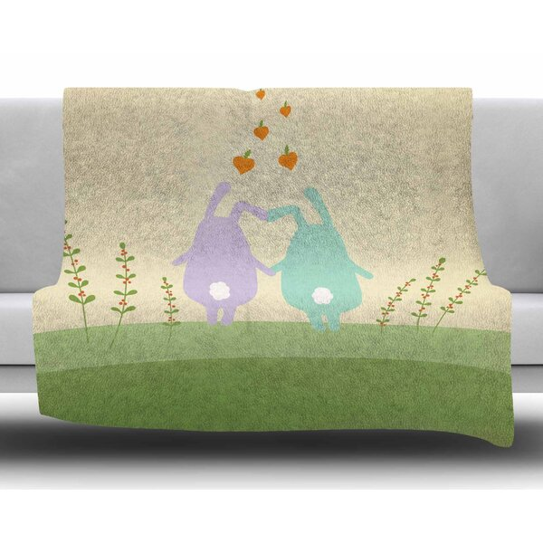 Cute Bunnies by Cristina Bianco Design Fleece Blanket by East Urban Home