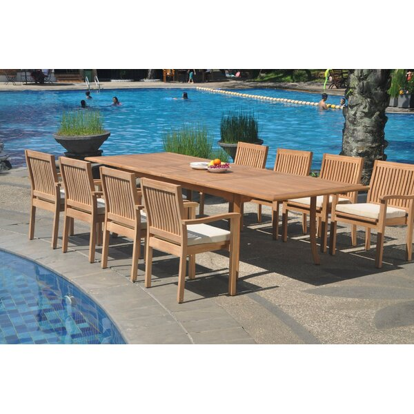 Mirando 9 Piece Teak Dining Set by Rosecliff Heights