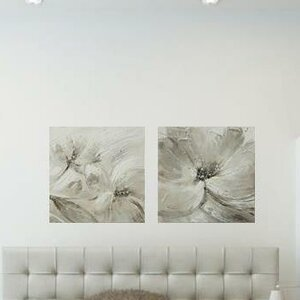 'Flower and Nature' 2 Piece Painting on Canvas Set in Gray by Latitude Run