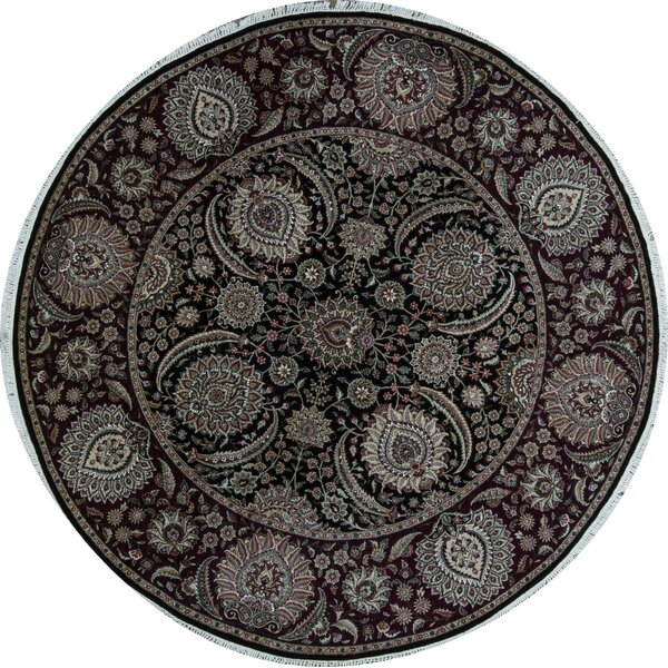 Round Oriental Hand-Knotted Wool Black/Wine Area Rug