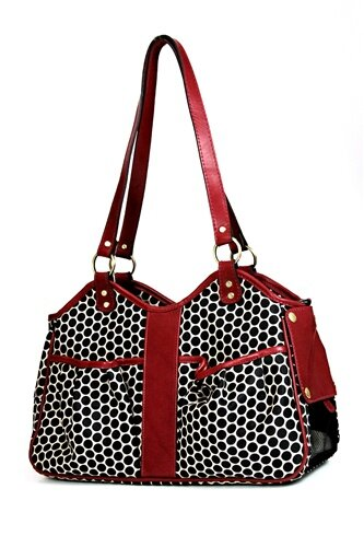Petote Metro Espresso Dot Pet Carrier with Leather Trim by Petote