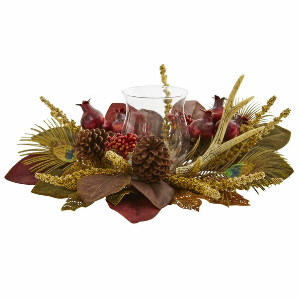 Magnolia, Berry, Antler and Peacock Feather Artificial Candelabrum by World Menagerie
