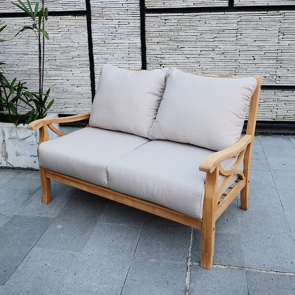 Brunswick Teak Loveseat with Cushions by Birch Lane Heritage Birch Lane™ Heritage