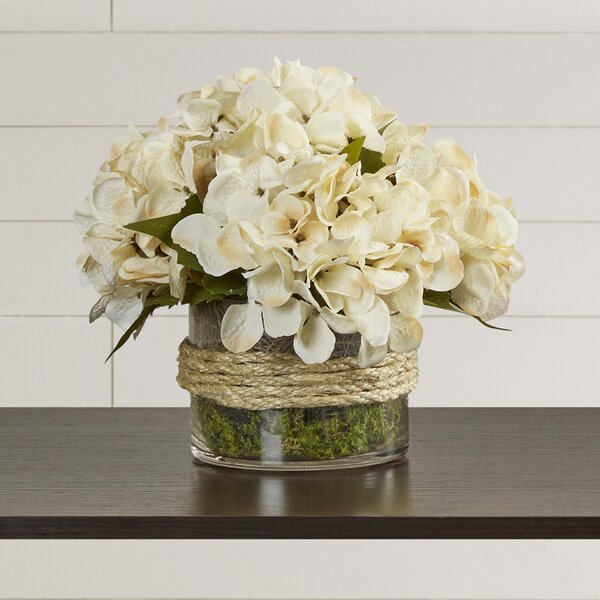 Hydrangea in Rope Glass Vase by August Grove