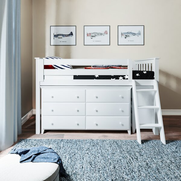 Ginny Twin Low Loft Bed with Drawers by Harriet Bee