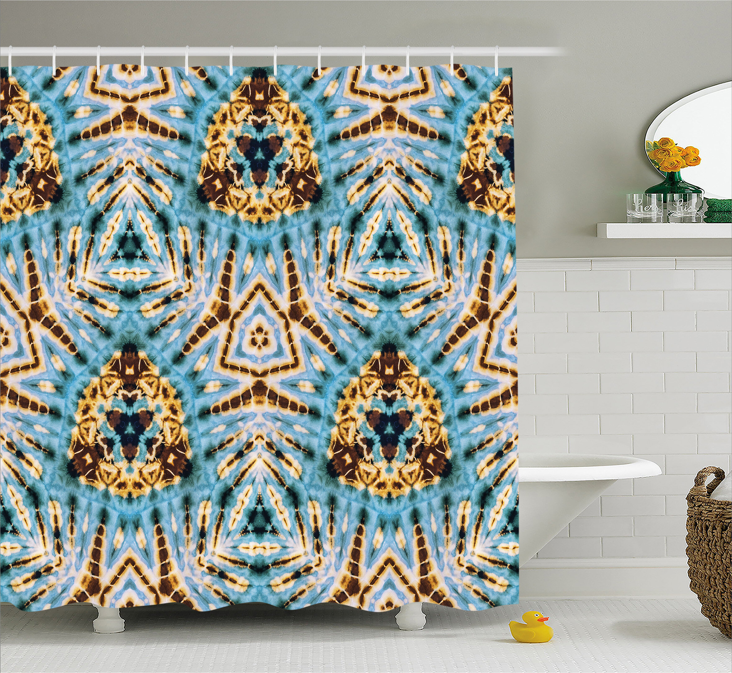 World Menagerie Auchincloss Tie Dye Tribal Stylized Trippy Shapes With Dirt  Grungy Paint Reflections Artisan Print Shower Curtain | Wayfair