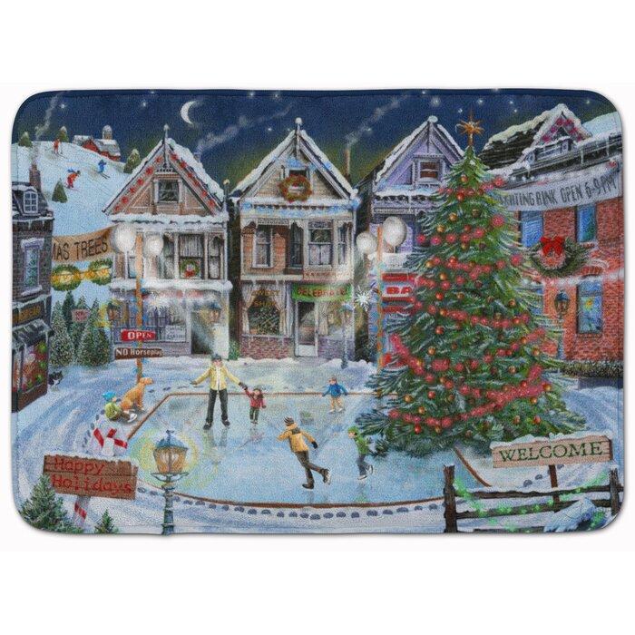 Christmas Family Skate Night Rectangle Microfiber Non-Slip Bath Rug
