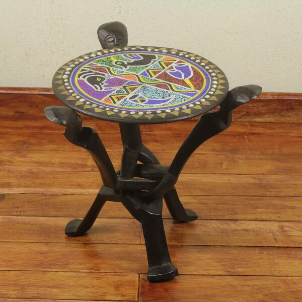 Ronnie Unity Beaded Folding End Table by Bloomsbury Market