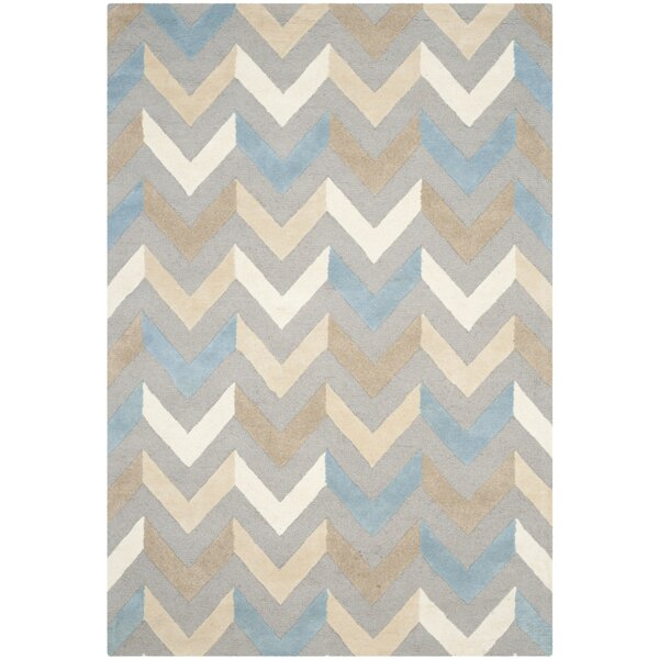 Martins Grey / Ivory Chevron Area Rug by Wrought Studio