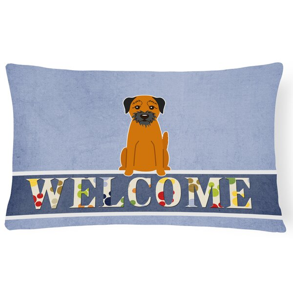 Heitmann Border Terrier Welcome Lumbar Pillow by Red Barrel Studio
