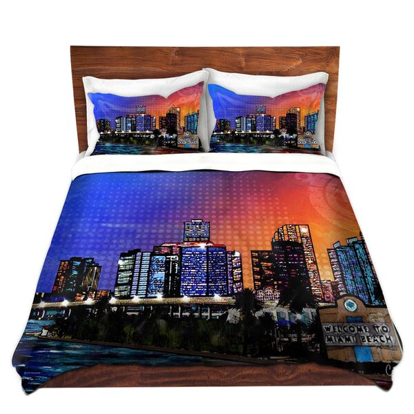Miami Beach Skyline Duvet Cover Set