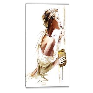 Fashion Woman Portrait Digital Graphic Art on Wrapped Canvas by Design Art