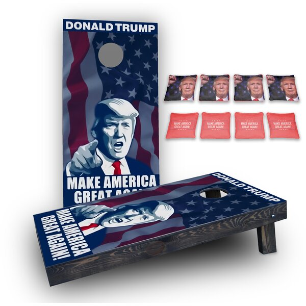 President Donld Trump 10 Piece Cornhole Board Set by Custom Cornhole Boards