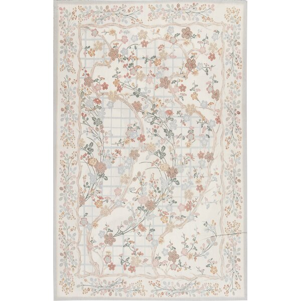 Aubusson Handmade Hand-Knotted Wool Ivory/Gray Rug
