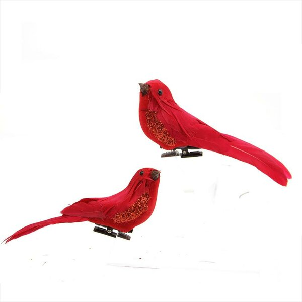 Left and Right Facing Clip-On Bird Shaped Christmas Ornament Set (Set of 2) by August Grove