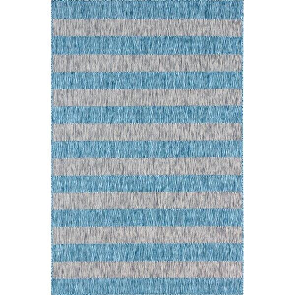 Hong Blue/Gray Indoor/Outdoor Area Rug by Breakwater Bay