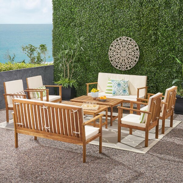 Samona 8 Piece Seating Group with Cushions by Rosecliff Heights