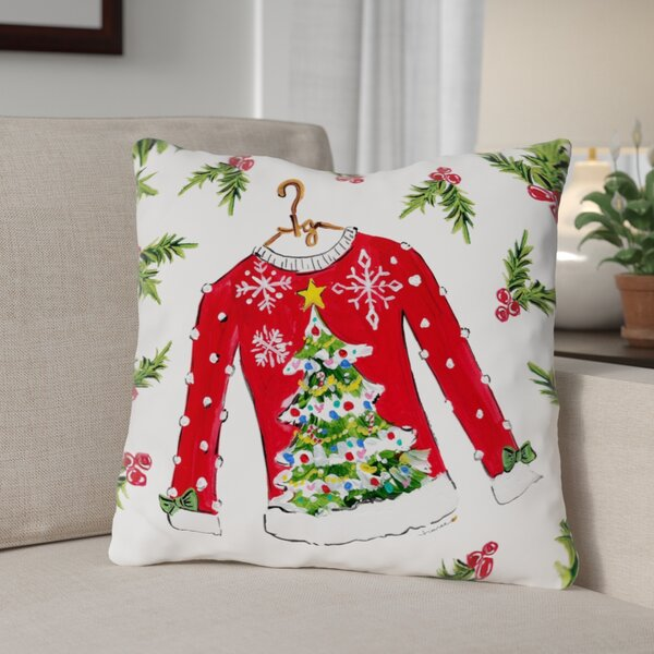 Tree Sweater Throw Pillow by The Holiday Aisle