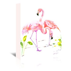 Flamingos 2 Painting Print on Wrapped Canvas by Bay Isle Home