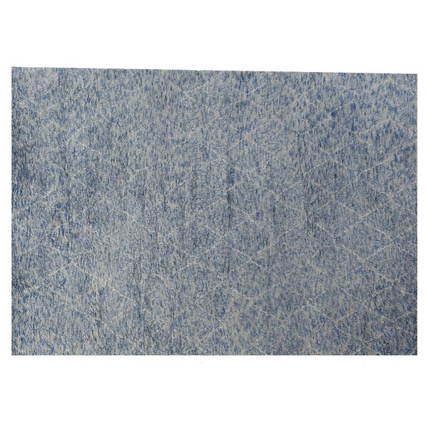 Moroccan Hand Knotted Wool Aqua Area Rug by Exquisite Rugs