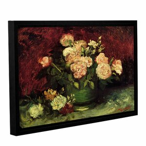 Roses And Peonies by Vincent Van Gogh Framed Painting Print on Wrapped Canvas by ArtWall